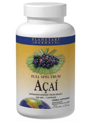 Planetary Herbals, Acai Extract Full Spectrum 500mg, 60 ct