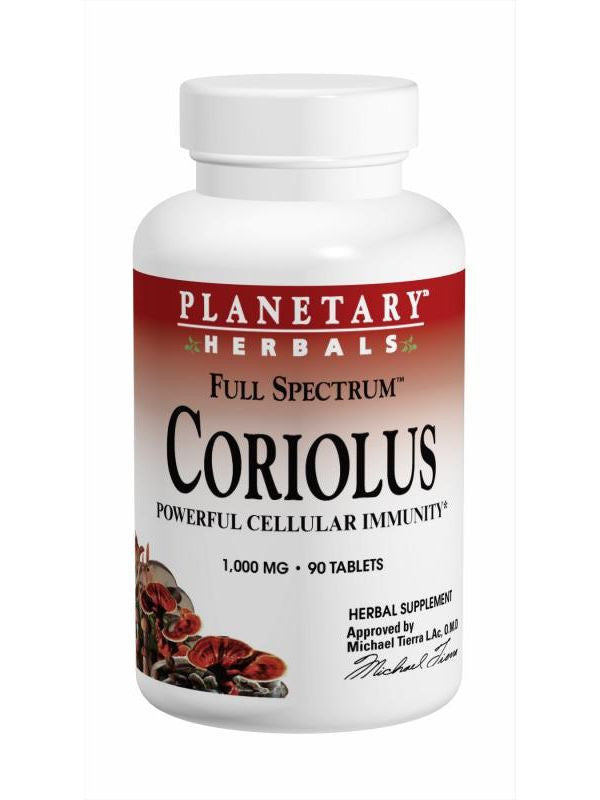 Planetary Herbals, Coriolus Full Spectrum 1000mg 90T, 90 ct