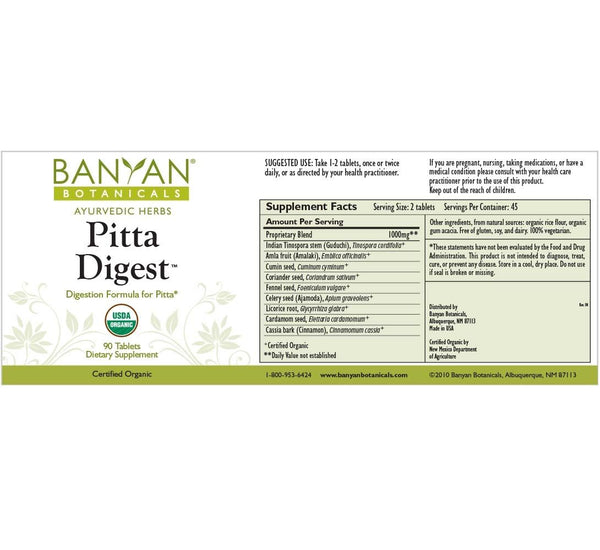 Banyan Botanicals, Pitta Digest / Digest Ease, 90 ct