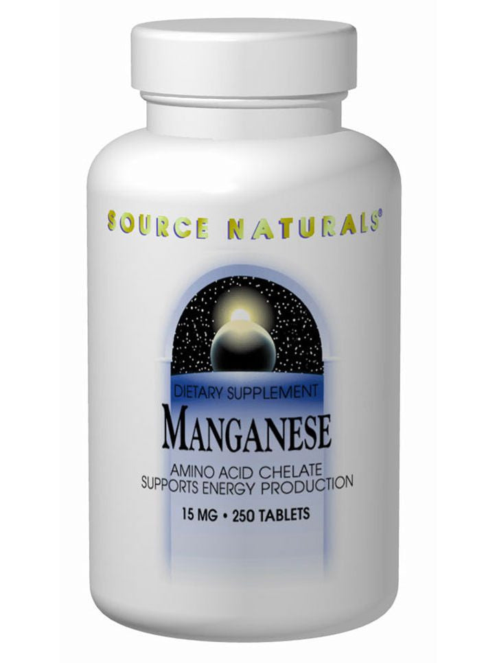 Source Naturals, Manganese Chelate, 15mg elemental, 100 ct