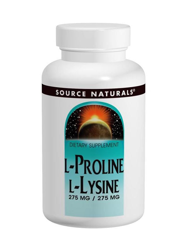 Source Naturals, L-Proline/L-Lysine, 275mg/275mg, 120 ct