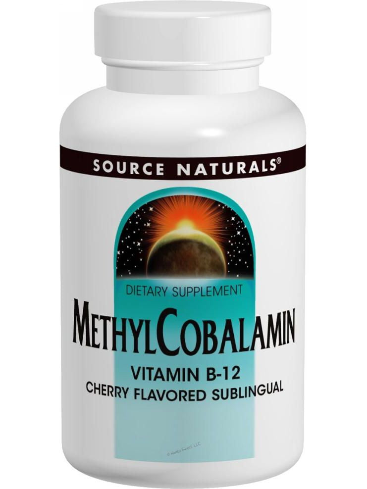 Source Naturals, MethylCobalamin Vitamin B-12 Subl Cherry, 1mg, 120 ct