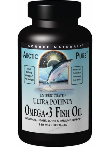 Source Naturals, ArcticPure Omega-3 Fish Oil Ultra Potency, 850mg Enteric-Coated, 120 softgels