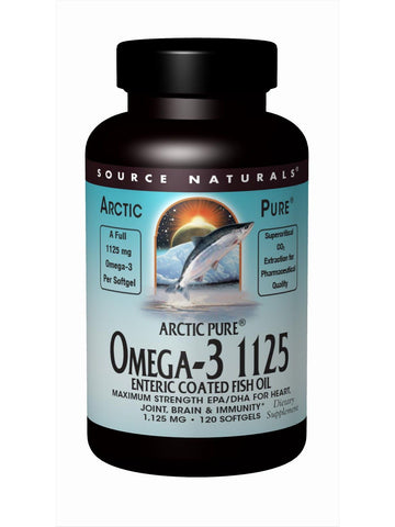 Source Naturals, ArcticPure Omega-3 1125 Enteric Coated Fish Oil, 120 softgels
