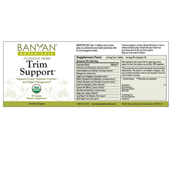 Banyan Botanicals, Trim Support, 90 ct