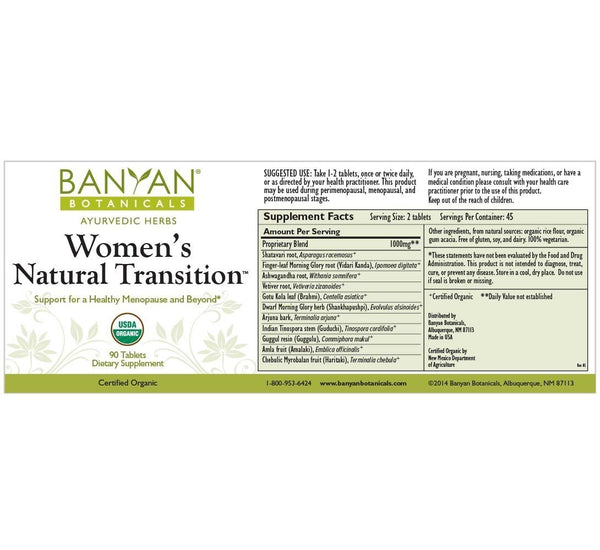Banyan Botanicals, Women's Natural Transition, 90 tabs