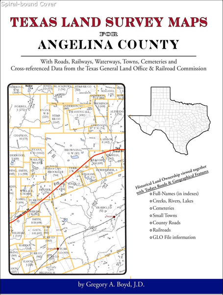 Texas Land Survey Maps for Angelina County (Spiral book cover)