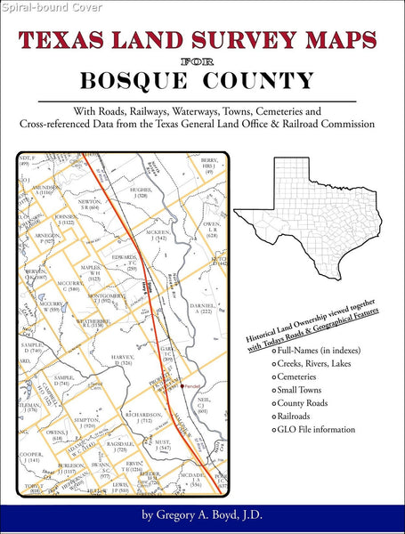 Texas Land Survey Maps for Bosque County (Spiral book cover)