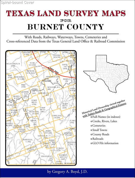 Texas Land Survey Maps for Burnet County (Spiral book cover)