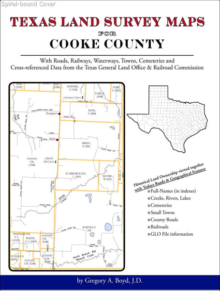 Texas Land Survey Maps for Cooke County (Spiral book cover)