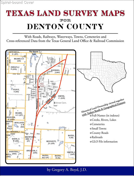 Texas Land Survey Maps for Denton County (Spiral book cover)