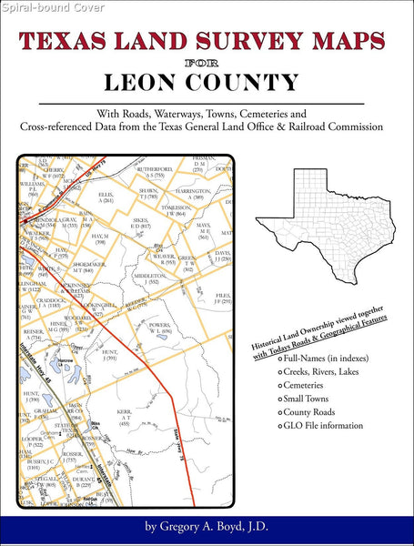 Texas Land Survey Maps for Leon County (Spiral book cover)