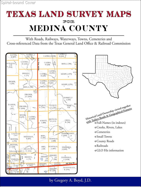 Texas Land Survey Maps for Medina County (Spiral book cover)