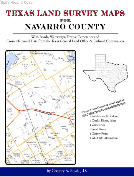 Texas Land Survey Maps for Navarro County (Spiral book cover)