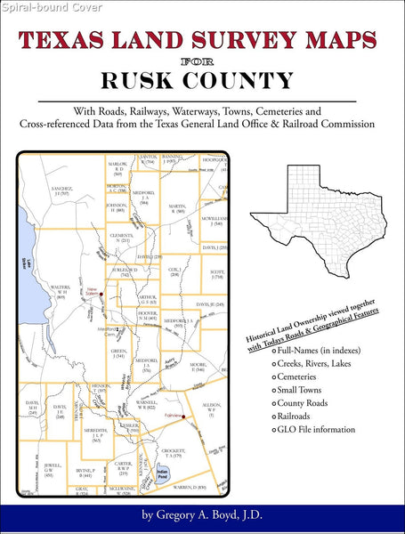 Texas Land Survey Maps for Rusk County (Spiral book cover)