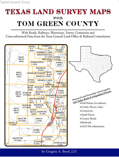 Texas Land Survey Maps for Tom Green County (Spiral book cover)