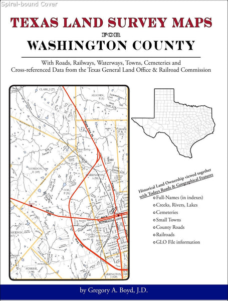 Texas Land Survey Maps for Washington County (Spiral book cover)