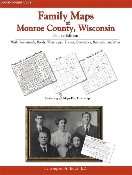Family Maps of Monroe County, Wisconsin (Spiral book cover)