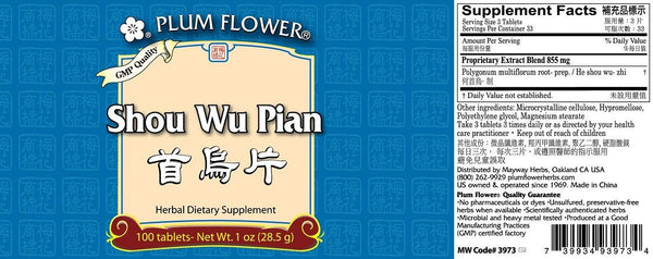 Plum Flower, Shou Wu Pian, 100 ct
