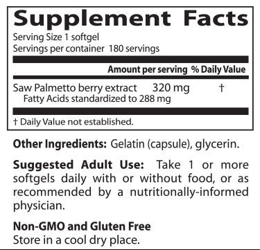 Doctor's Best, Saw Palmetto, 320 mg, 180 softgels