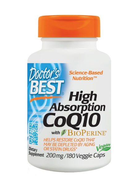 Doctor's Best, High Absorption CoQ10, 200 mg, 180 veggie caps