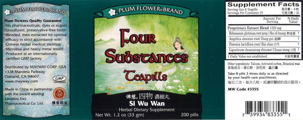 Plum Flower, Four Substances For Women, Si Wu Tang Wan, 200 ct