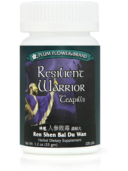 Resilient Warrior, Ren Shen Bai Du Wan, 200 ct, Plum Flower