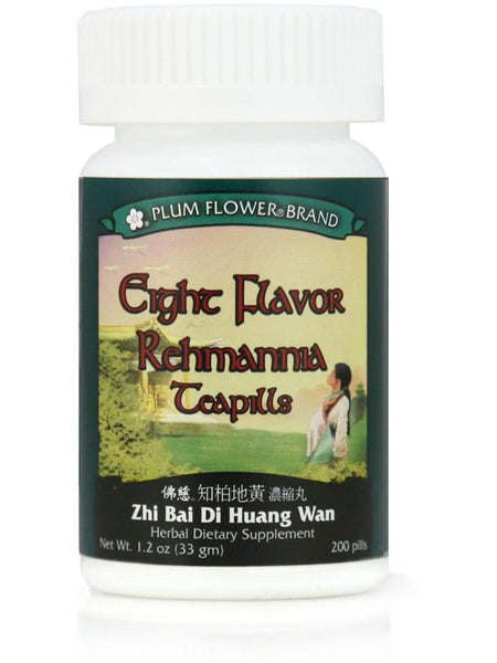 Eight Flavor Rehmannia, Zhi Bai Di Huang Wan, 200 ct, Plum Flower