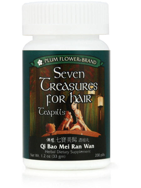 Seven Treasures For Beautiful Hair Formula, Qi Bao Mei Ran Dan, 200 ct, Plum Flower
