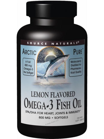 Source Naturals, ArcticPure Omega-3 Fish Oil Lemon Flavor, 800mg, 30 softgels