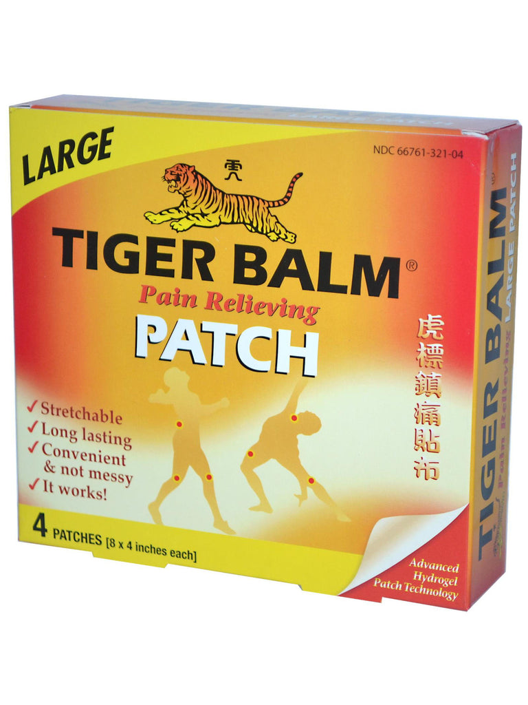 Tiger Balm Patch 8x4 inch Large Size, 4 ct, Tiger Balm