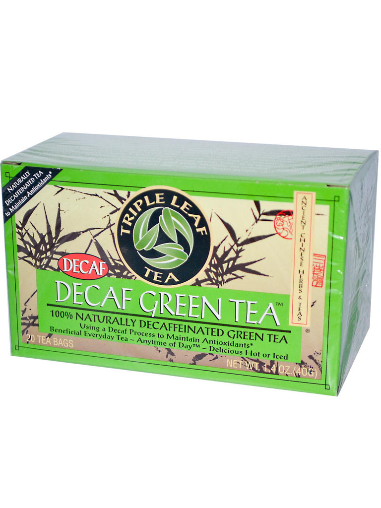 Decaf Green Tea, 20 tea bags, Triple Leaf Tea