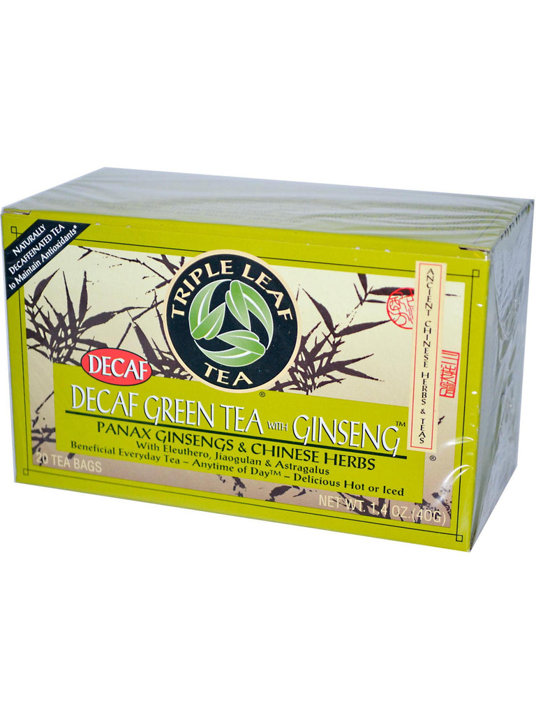 Decaf Green Tea with Ginseng, 20 tea bags, Triple Leaf Tea