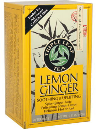 Lemon Ginger Tea, 20 teabags, Triple Leaf Tea