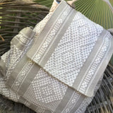 Kaki and beige Multipocket backpack hand woven ethically in Oaxaca