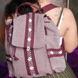 Burgundy and beige cotton backpack with many pockets made in Oaxaca ethically
