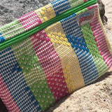 Rainbow color small cotton pouch hand woven ethically in oaxaca mexico
