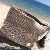 Medium beige and kaki travel pouch ethically made in Oaxaca