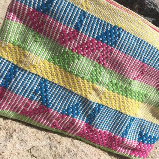 Large pouch assorted with the multicolor Hazaña, handmade ethically in Oaxaca - pazeña