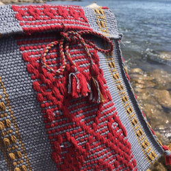 Small grey and red cotton crossbody bag made in Oaxaca ethically
