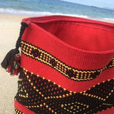 Medium red and black travel pouch hand woven in Oaxaca Mexico