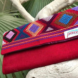 Large womens' red wallet with Zapotec Rombo design ethically made in Mexico