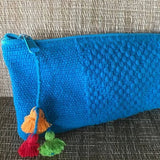 "Turquoise Pencil case 22 cm x 10 cm  (8.6"" x 3.9"") hand made ethically in Oaxaca - pazeña"