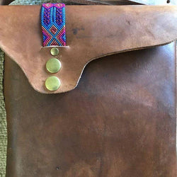 Unisex leather bag for tablet made in Mexico ethically