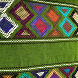 Large neon green  womens' wallet with Zapotec Rombo design ethically handmade in Chiapas - pazeña