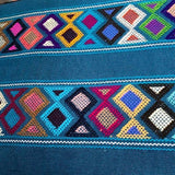Large teal womens' wallet with Zapotec Rombo design ethically handmade in Chiapas - pazeña