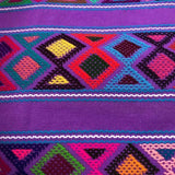Large purple womens' wallet with Zapotec Rombo design ethically handmade in Chiapas - pazeña