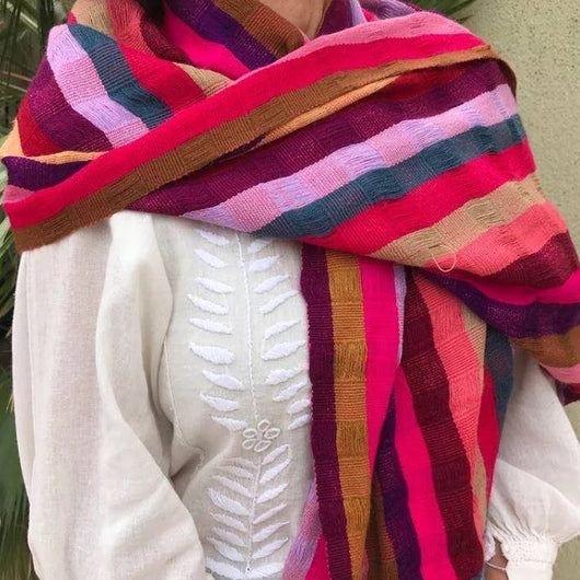 Striped red shawl made in Mexico ethically