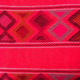 Large neon red womens' wallet with Zapotec Rombo design ethically handmade in Chiapas - pazeña