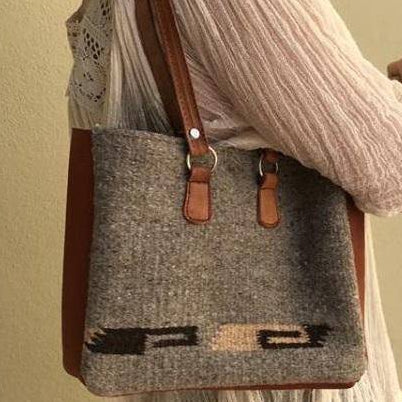Wool shoulder bag tablet-size with leather strap ethically handmade in Oaxaca